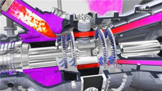 三维机械产品动画-演示燃气轮机工作原理